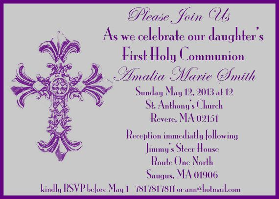 First Communion Invite.  5x7 printable by GoToGirlSignDesigns, $15.00