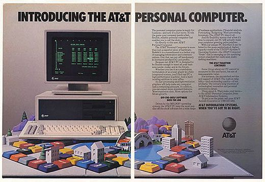Vintage computer adVintage Computers, Att Pc, Att Personalized, Computers Ads, Retro Computers, Vintage Wardrobe, Personalized Computers, Classic Computers, 1980S Computers