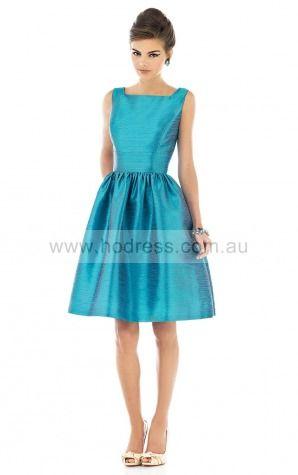 Sleeveless Zipper Square Knee-length Taffeta Evening Dresses esfa307184--Hodress