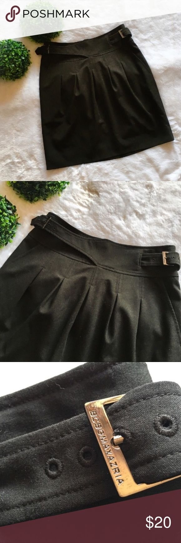 """BCBG Max Azria Black Skirt Preloved with no flaws. Size 2, 18.5"""" long, and a 27"""" waist. I'm only looking to sell at this time so sorry but no trades. My listing price is firm. BCBGMaxAzria Skirts"""