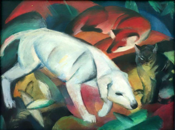 Drei Tiere (Hund, Katze und Fuchs) (F. Marc, 1912, Kunsthalle Mannheim)