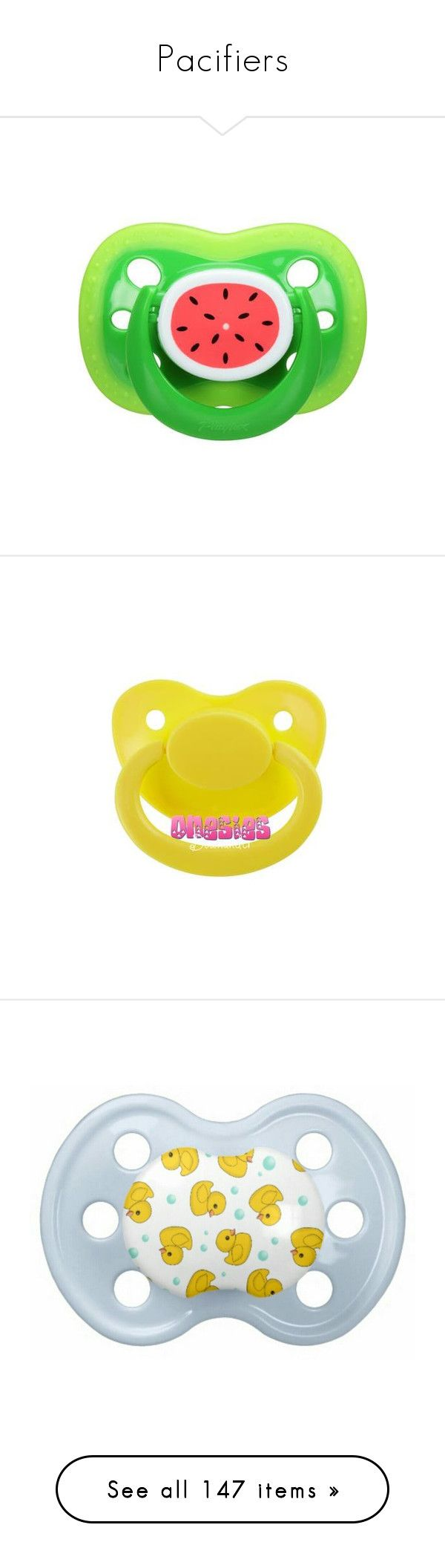 """Pacifiers"" by ittybittybunbun ❤ liked on Polyvore featuring baby, pacifiers, baby boy, baby pacifier, kids, kids clothes, pacifier, baby girl, toys and home"