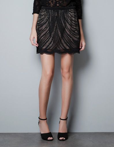 Could you wear this Zara lace skirt to work? Maybe!