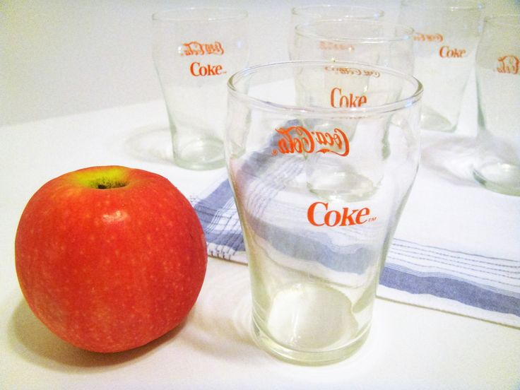 """Coke Drink Glasses, Six Miniature 4"""" Coca Cola Collectible Glasses, Rare Red Lettered Glasses, Desirable Coca Cola, Bell Shaped Glasses by LyndaJeansVintage on Etsy"""