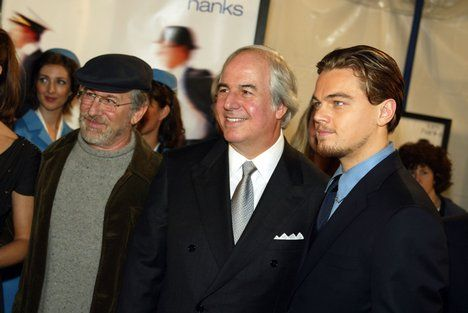 Leo with Steven Spielberg and Frank Abagnale at the premiere of Catch Me If You Can at the Village Theatre in Westwood, Ca on Monday 16 December 2002
