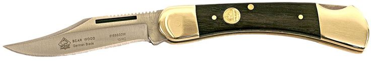 """Puma SGB Bear Jacaranda Wood Lock Back folding knife. 1.4116 German cutlery steel manufactured in Solingen Germany. Overall length of 6.7"""", 2.8"""" clip point hollow ground satin finished blade weighing 2.9 oz. Jacaranda Wood scale with brass bolsters and lanyard hole. 55-57 Rockwell hardness tested and proofmarked with limited lifetime warranty."""