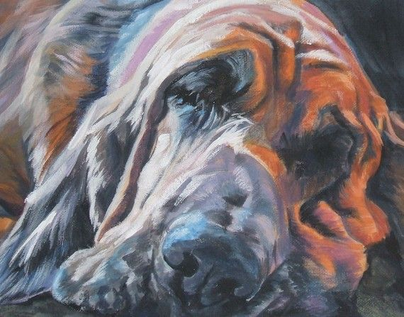 Dogs Dog Art Bloodhound Dog portrait CANVAS print of LA Shepard by TheDogLover, $39.99