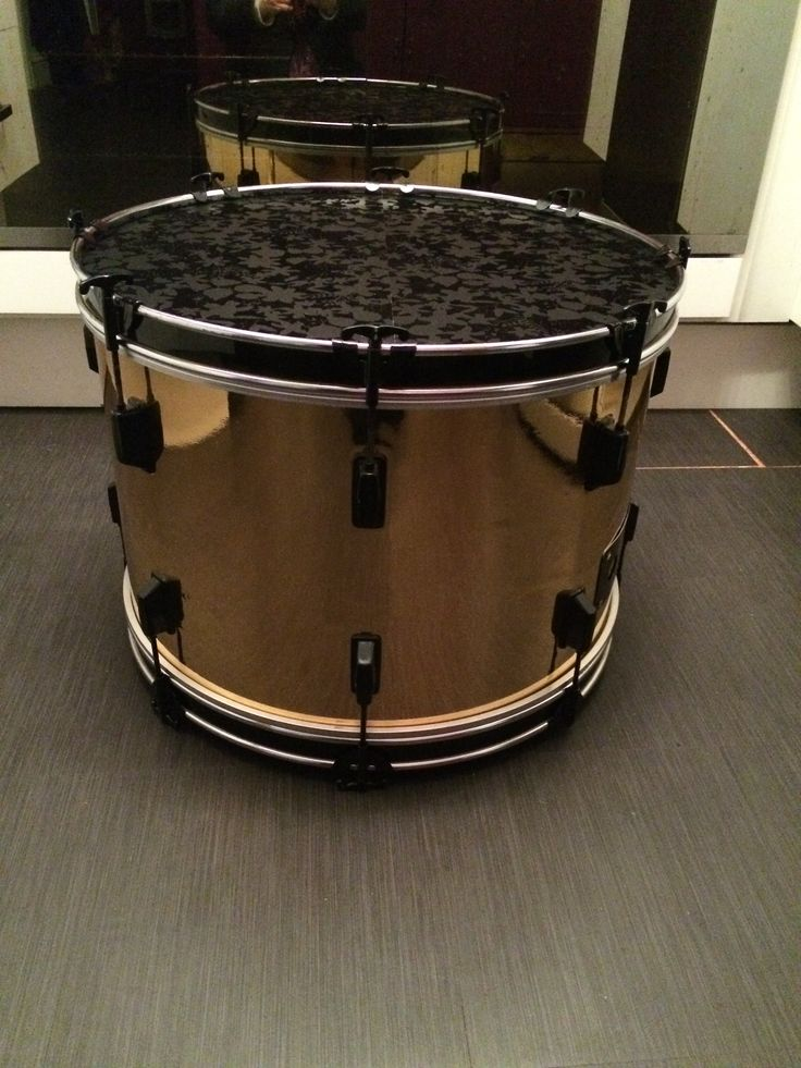 Upcycled Bass Drum Gold Wrap Black Hardware Solid Wood