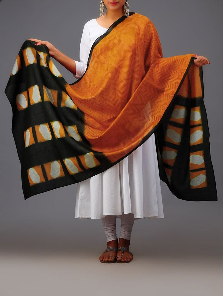 Green-Orange Geometric Clamp Dye Chanderi Dupatta #available online at jaypore.com #vibrant #exquisite #bright #patterns