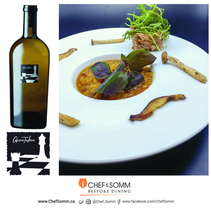Chef Eyal Liebman's dish 'Orange is the new black'; Red le puy lentil soup with sautéed shitake mushrooms and lamb rillettes. Paired with Checkmate Chardonnay, Queen taken, BC, Canada 2014, $125. more about the pairing on our FB and IG pages
