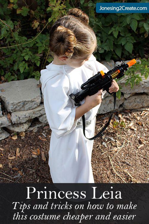 Cute and easy Princess Leia costume. Love the sock buns!