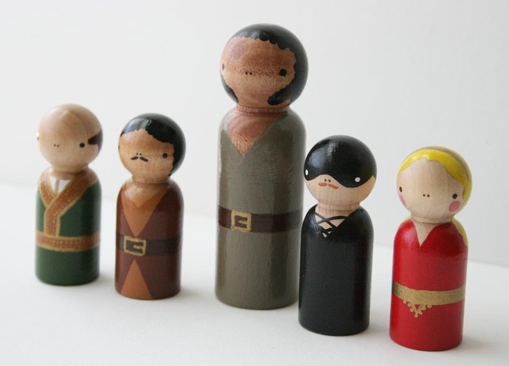 vizzini, inigo montoya, fezzik, westley, and buttercup; wooden dolls from mates&rubbish;.
