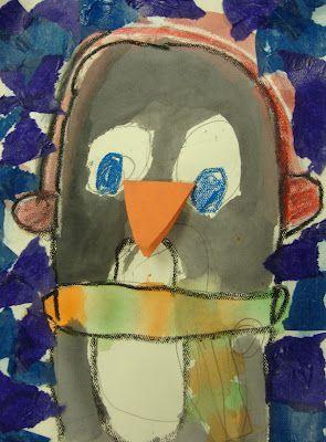 Plakboek: Pinguin (waterverf)