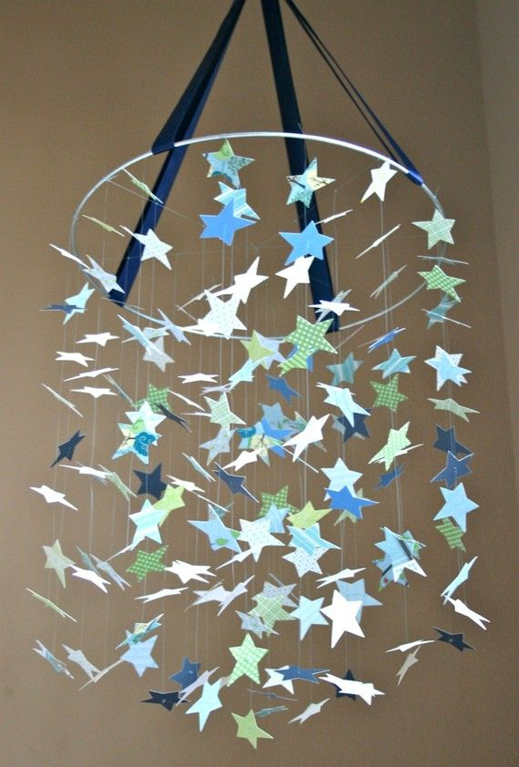 DIY mobile. They don't have the color I want, but I am pretty sure I can make this myself...  Hoop, Ribbon, CardStock Shapes, Beads, and Beading String.