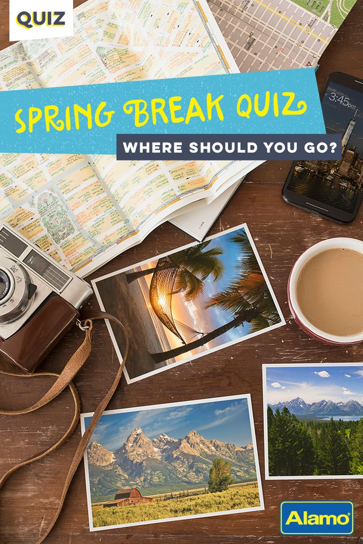 With this quiz, we've made your spring break planning as simple as answering five questions! From the beach to the mountains, we'll help you identify your spring break style AND your perfect spring break destination.