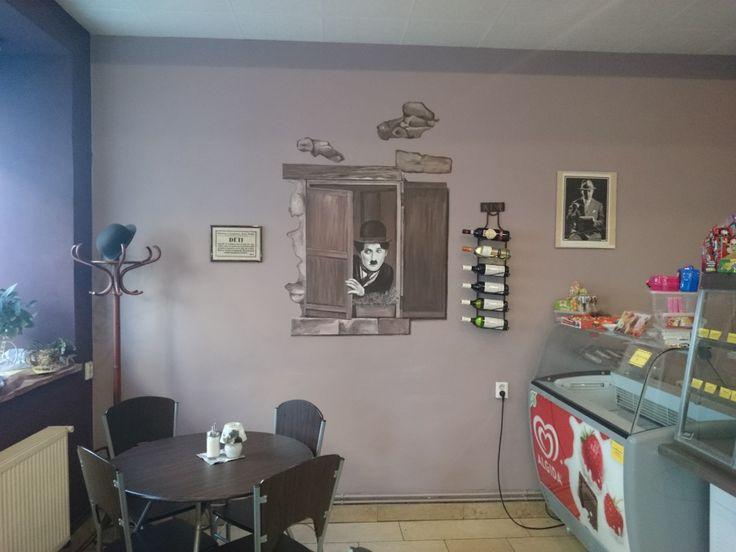 """Cukrárna """"Charlie"""" - nástěnná malba 150 x 100 cm."""