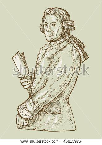 vector hand sketch illustration of a 17th century gentleman or aristocrat wearing wig.  #aristocrat #sketch #illustration