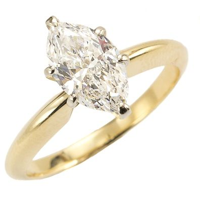 Marquis de Sparkle: There is nothing else quite like a well cut marquis diamond… a whirlwind of sparkle draws the eye from one pointed end to the other in a graceful arc. Set into the most classic solitaire mounting, the luscious stone takes center stage. Ca. 1960. Maloys.com