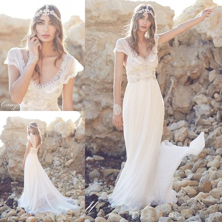 Stunning Anna Campbell Beach Wedding Dresses A Line V Neck Backless Pearl Beads Cap Sleeve White