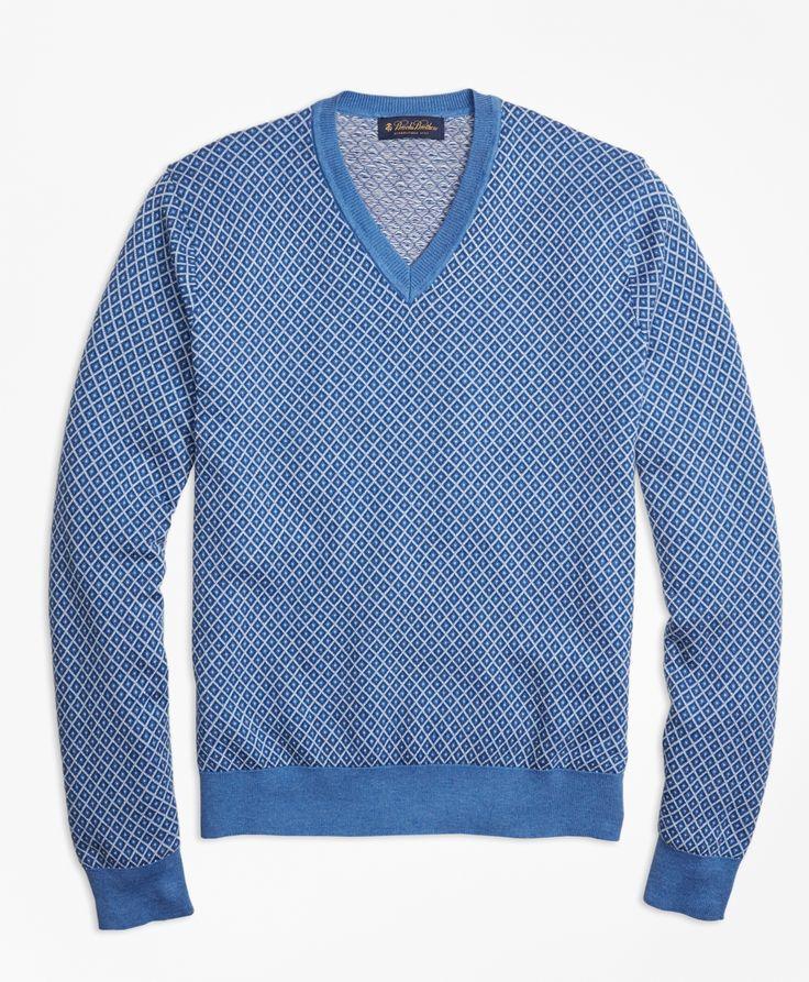 Supima® Cotton Cashmere Jacquard V-Neck Sweater - Brooks Brothers