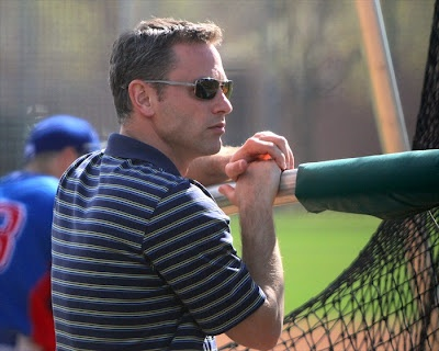 Cubs new General Manager, Jed Hoyer watching batting practice in AZ.    http://journal.boysofspring.com/