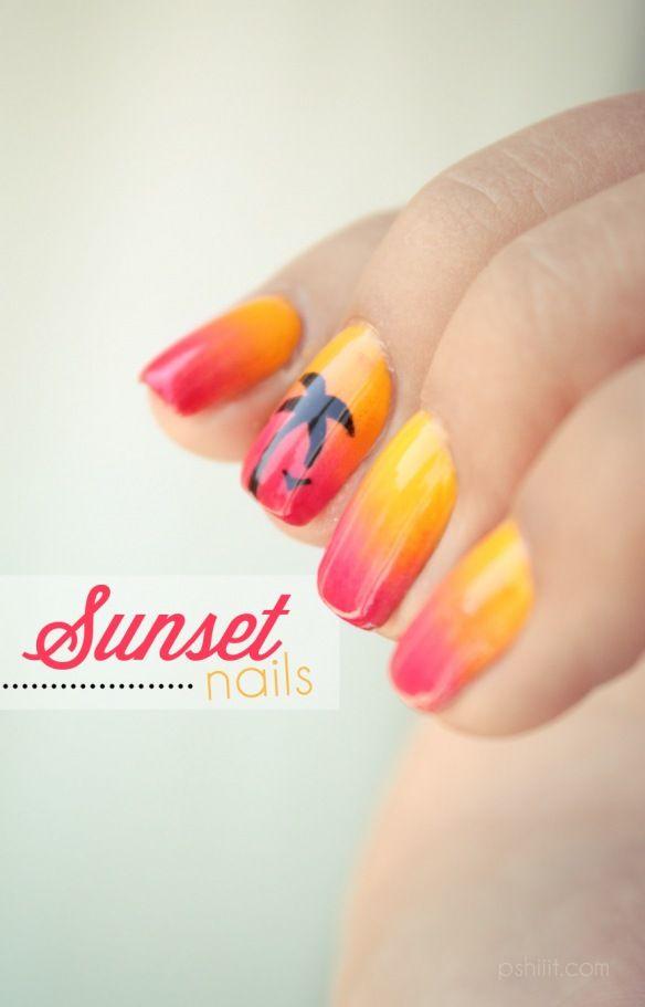 Sunset-gradient love love love nails sunset