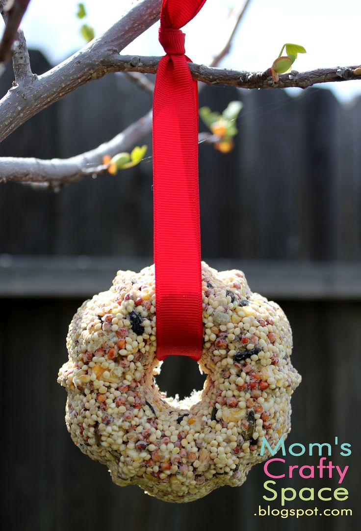 These bird seed feeders were so easy to make! We followed the directions exactly how they appeared in the post...they didn't stick at all to the pan and stayed together nicely. We got 6 good sized ornaments to hang on our tree for the birds.