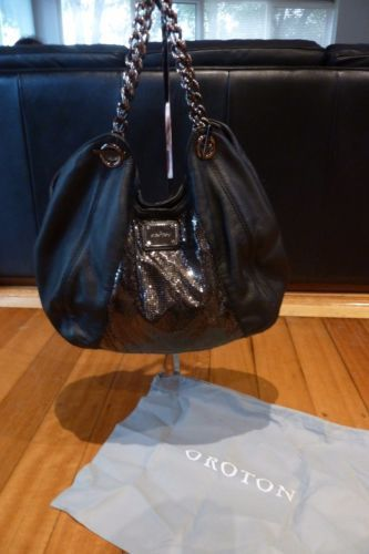 Oroton-Leather-and-mesh-Black-Hobo-Chain-Shoulder-Bag