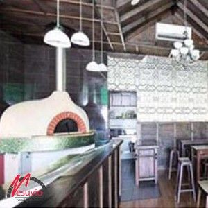 Station Bar – Blue Mountains, NSW Australia  GR140 commercial wood fired oven made in Italy by Valoriani.   This wood fired oven is the stunning focal point of this new bar, which specialises in classic and contemporary wood fired pizzas.  The soft green mosaic tiling around the base of the oven perfectly complements the stunning pressed metal cladded walls.