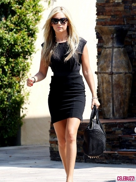 Ashley Tisdale Black Dress March 2017