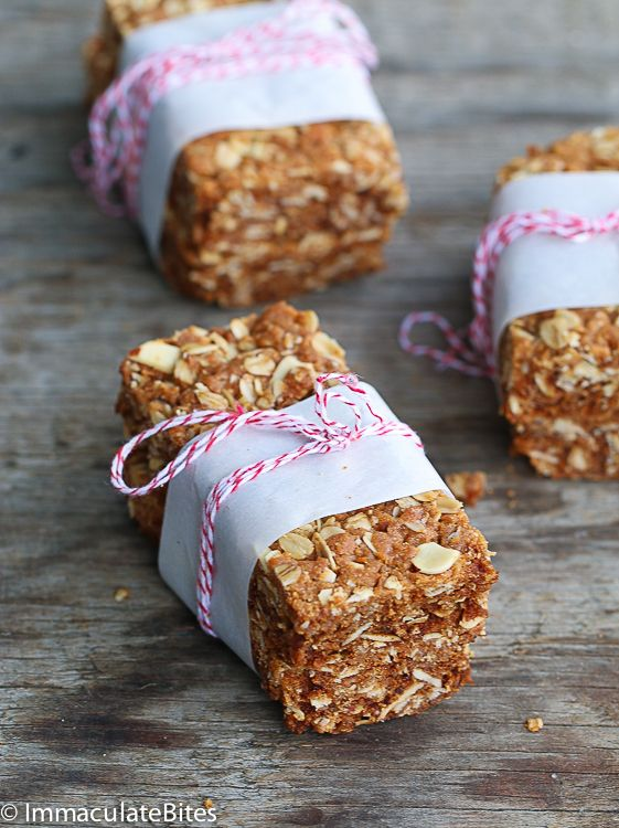 Oatmeal bars- Why pay for oatmeal bars when you can make your own healthy version. Quick and easy, no mixing required.
