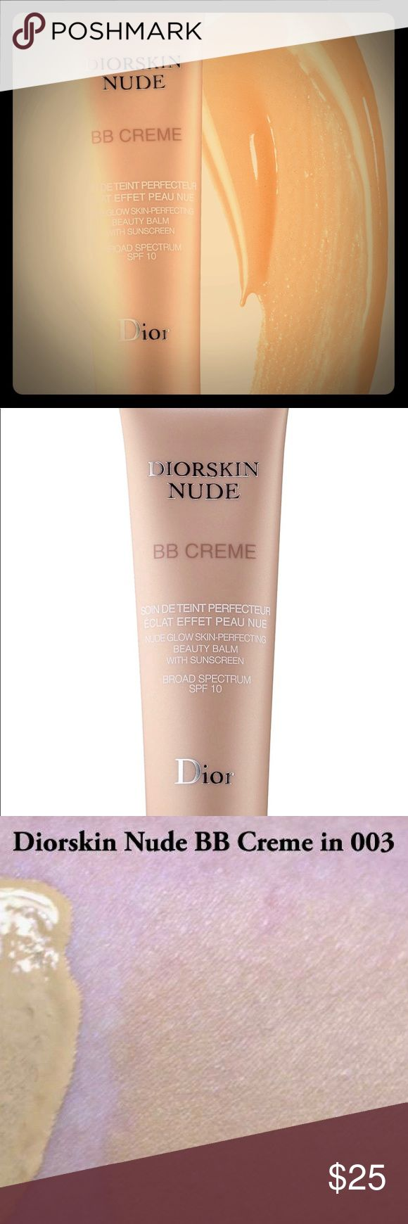 DIORSKIN NUDE | BB CRÈME | in Light to Med - 003 USED MAYBE 2-3 TIMES AT MOST!! EXCELLENT USED CONDITION!! Diorskin Nude BB Creme provides the benefits of skin care and makeup in a fresh and airy formula. Enhanced with mineralized floral water and a blend of antioxidants, it moisturizes, smooths, protects, and corrects skin with sheer coverage. Available in expert shades to match every skin tone, the complexion is illuminated with a unique fresh glow and dewy finish. Dior Makeup Foundation