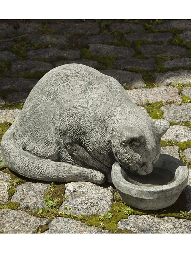 Nice Samantha Outdoor Cat With Bowl Statue: Campania International: Samantha