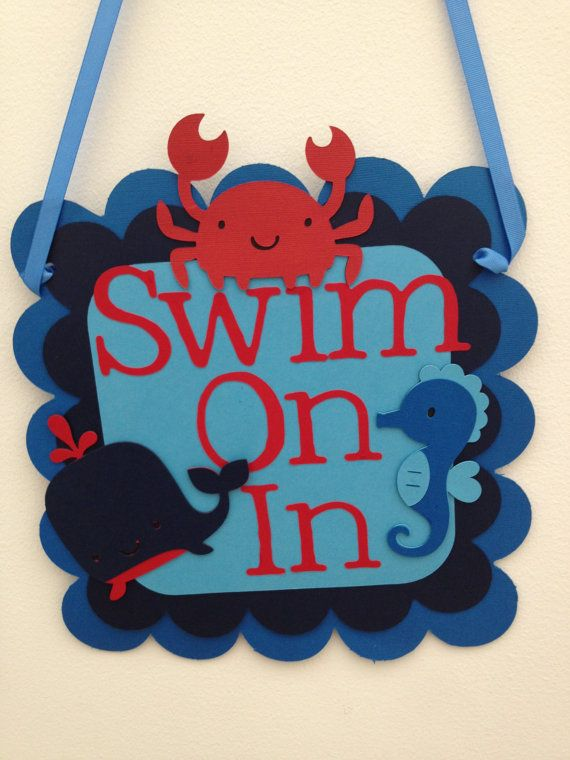 Under The Sea Themed Door Sign, Baby Shower, Birthday Parties,Welcome Signs,First Birhday,Seahorses,Fish,Crab,Whale,Nauticl