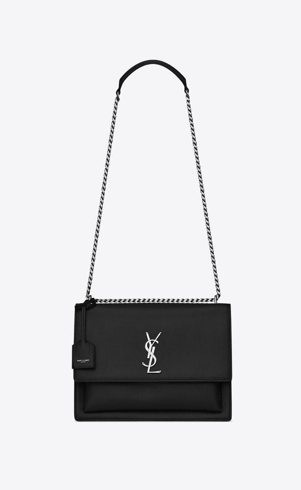 Saint Laurent Sunset Woman Large Sunset Bag In Black Leather A V4 Smooth Leather Shoulder Bag Cute Crossbody Bags