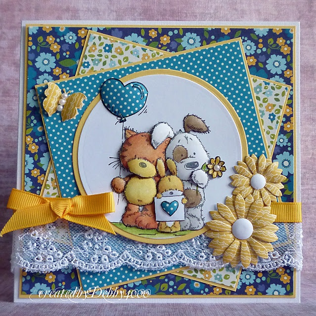 adorable handmade card ... Group Hug—image is from LOTV .... blue, yellow, white ...