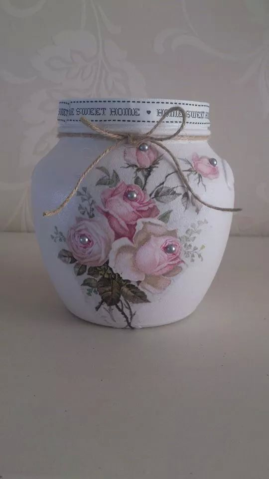 shabby chic decoupaged jar