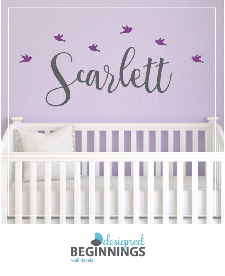 Personalized bird wall decals for your baby nursery.