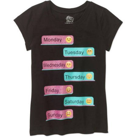 Girls' Emoji Text Short Sleeve Crew Neck Graphic T-Shirt, Size: XL, Black