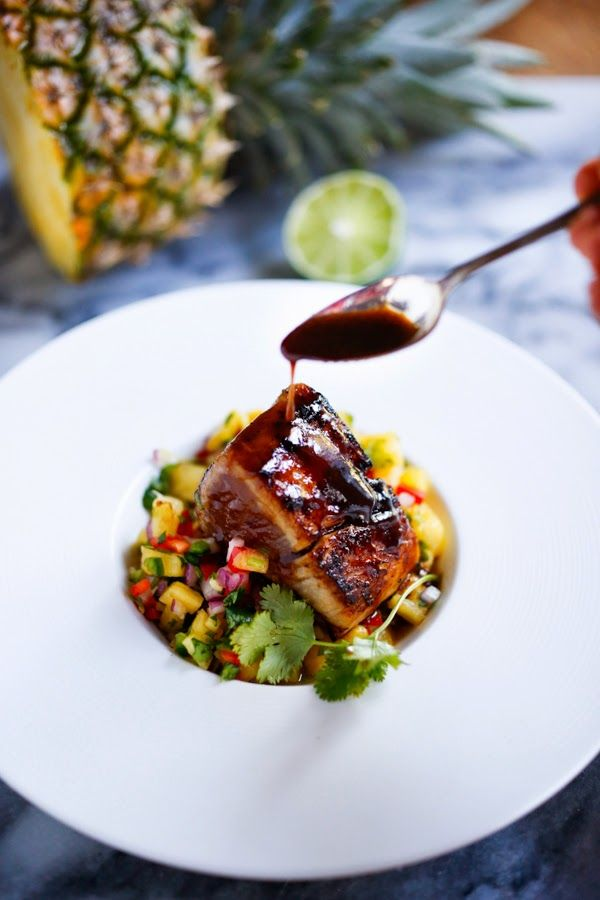 Seared Ono with Honey Soy Glaze and fresh Pineapple Salsa...an elegant healthy meal, perfect for a gathering or dinner party. Easy, delicious! | www.feastingathome.com