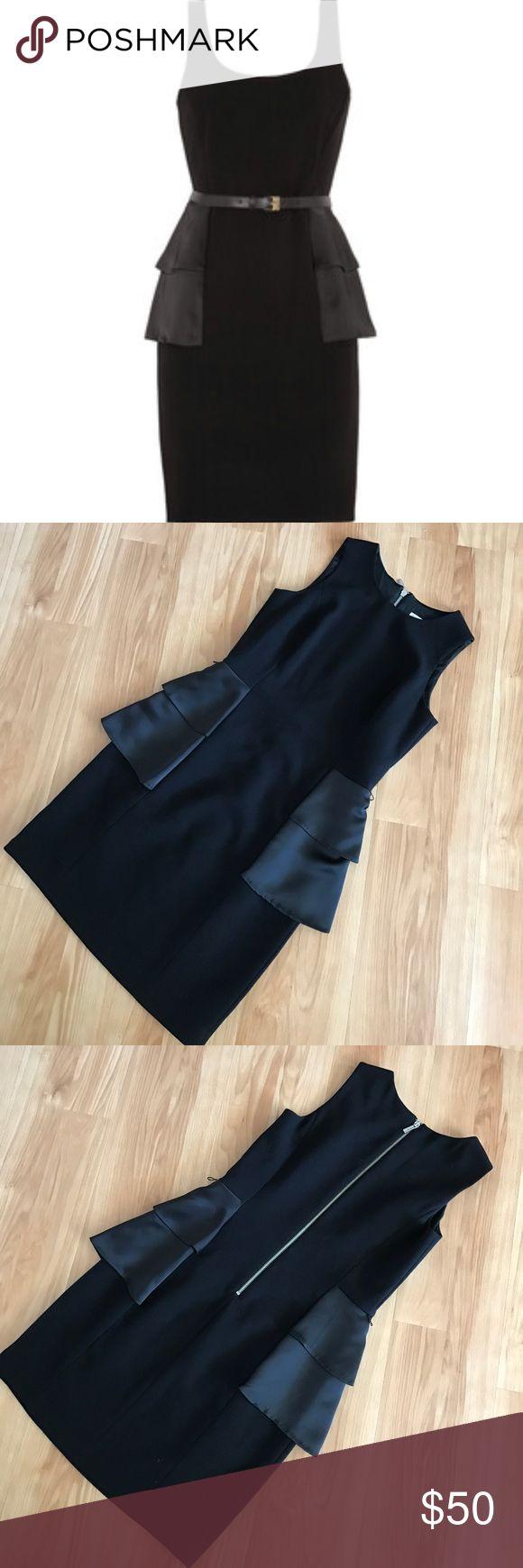 Michael Kors black peplum dress Super chic MICHAEL Michael Kors peplum dress. Has silver zipper down the back. Peplum sides are satin unlike rest of dress. *Belt is not included* Michael Kors Dresses