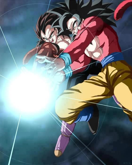 Goku y vegeta ssj 4 a sen bimba kame kame ja