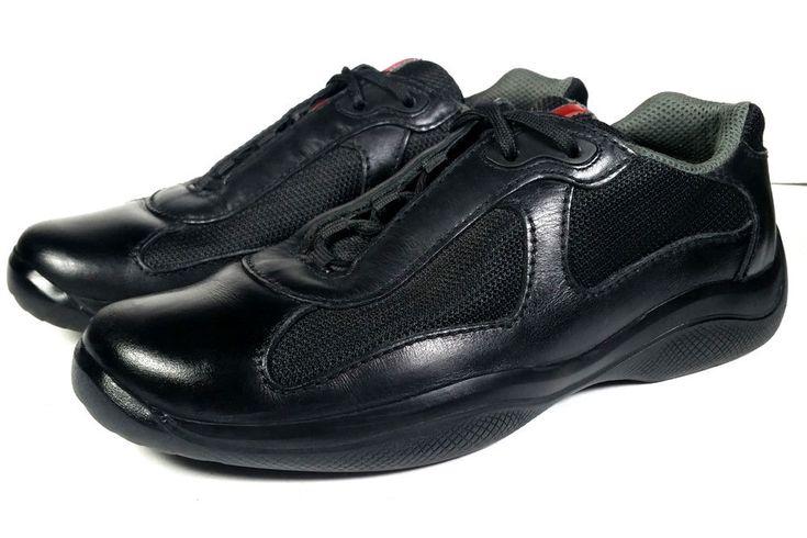 PRADA Shoes MENS Sneakers Size 9 Black Leather Prada Sport *PRIMO* SZ 9 US / 8UK #PRADA #FashionSneakers