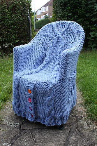 Knitted plastic chair cover!
