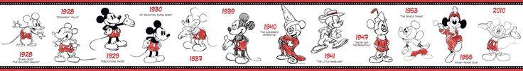 "Room Mates Deco Mickey Mouse 1928-2010 15' x 6"" Border Wallpaper"