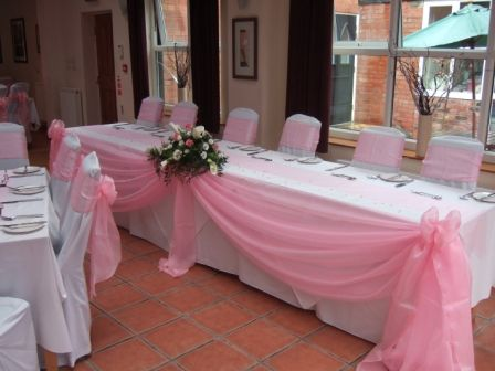 pink Wedding Flower Arrangements | Joshua Bradley, Gee Cross, Hyde, Baby Pink Chair cover bows, Top table ...