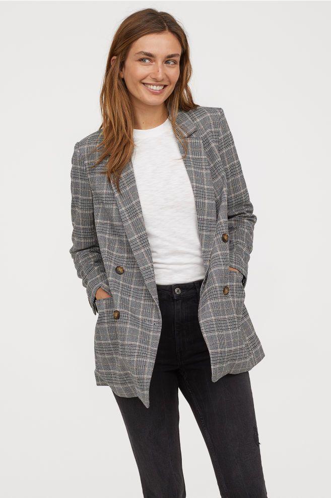 H/&M Women/'s Suit Sport Jacket Coat Blazer Size 4 Gray Single Button