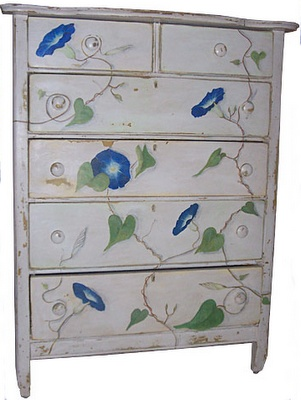 Hand Painted Morning Glory Vine On A Dresser