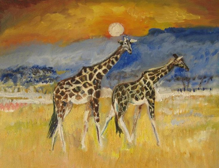 Giraffes in sunset by bernadetteowen   Two Giraffe's at sunset in painted in acrylic. The inspiration for painting was from the Nakuru safari park in Kenya.