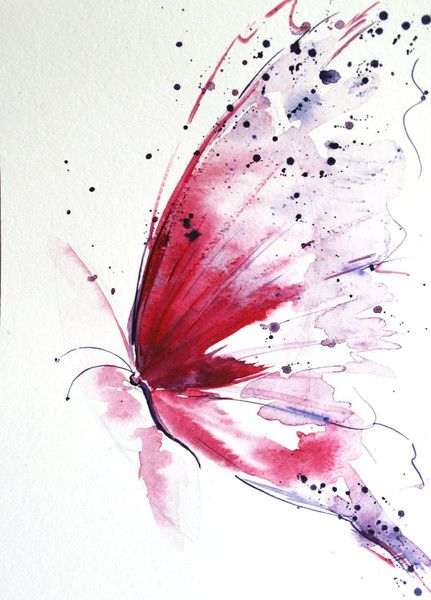 Red butterfly, Butterfly painting, Original from Radikacolours by DaWanda.com – Shahed Zreik